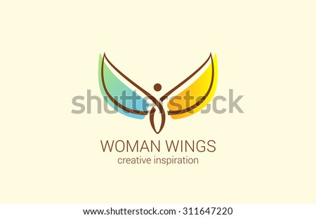 flying woman with wings logo