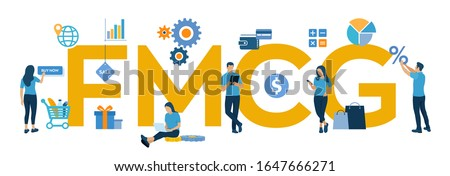 FMCG. Fast Moving Consumer Goods acronym. Quickly moving product, short term goods. Business and commerce concept with big word or text. Vector illustration with characters and icons.
