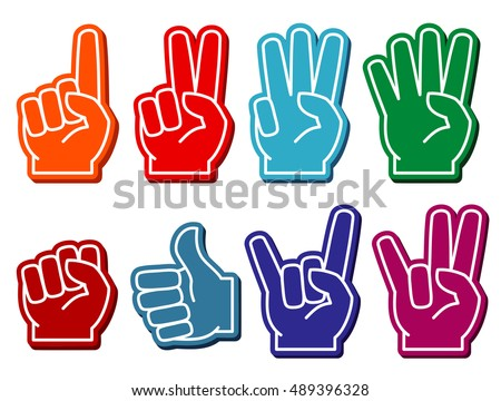 Foam fingers vector set. Gesture victory and souvenir accessory illustration