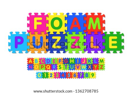 Foam puzzle font design, alphabet letters and numbers vector illustration