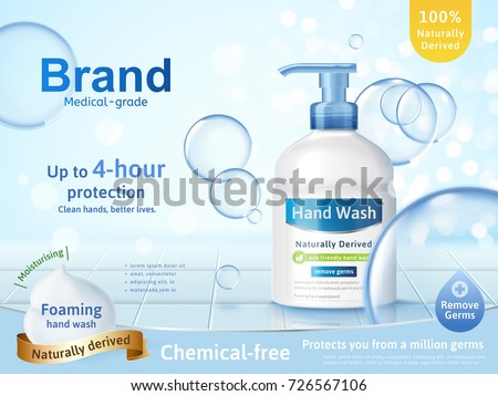 Foaming hand wash ads, dispenser bottle with transparent bubbles and glitter bokeh background in 3d illustration