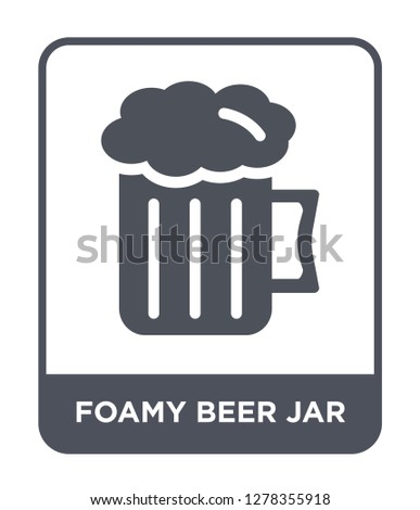 foamy beer jar icon vector on white background, foamy beer jar trendy filled icons from Bistro and restaurant collection, foamy beer jar vector illustration