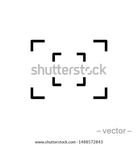 Focus icon, focus lens vector