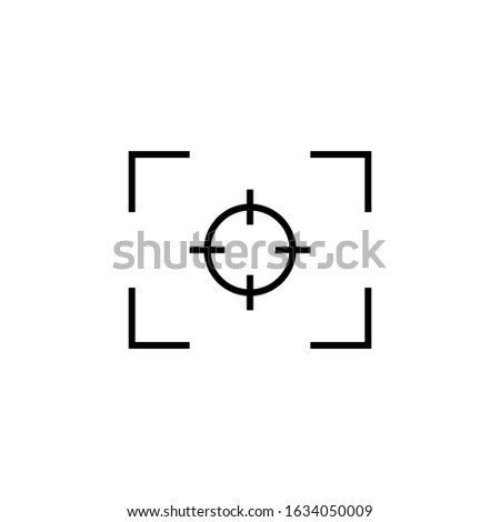 Focus line icon. Outline camera focus lens symbol isolated on white background. Vector illustration editable stroke