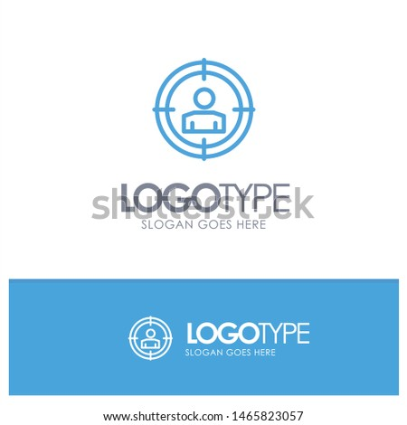 Focus, Target, Audience Targeting,  Blue outLine Logo with place for tagline. Vector Icon Template background