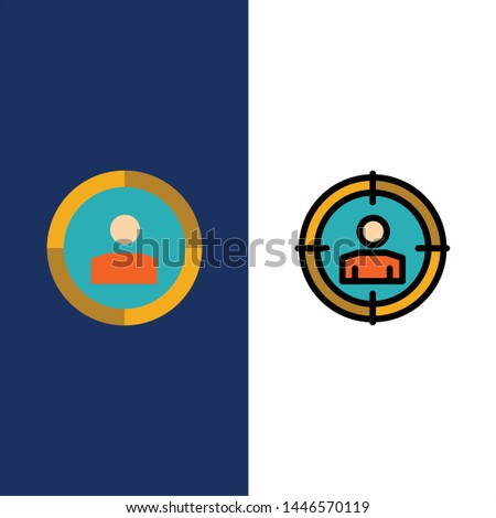 Focus, Target, Audience Targeting,   Icons. Flat and Line Filled Icon Set Vector Blue Background