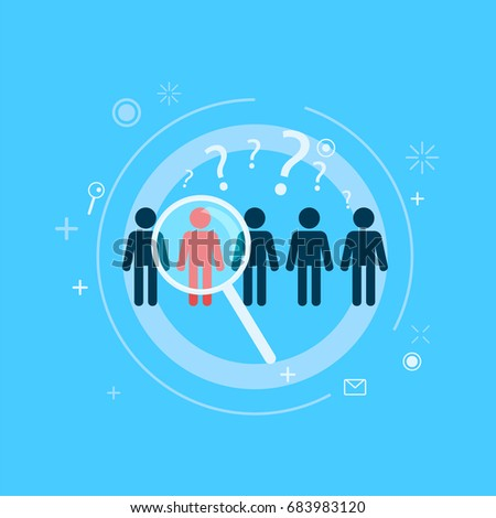 Focus Target group. Five people stand out one with a directional magnifying glass. Vector flat illustration Photo stock ©