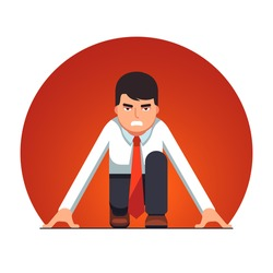 Focused business man in starting position beginning a sprint race. Metaphor of start up entrepreneurship. Flat style vector illustration isolated on background.
