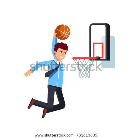 Focused business man jumping holding ball performing basketball hoop slam dunk. Effort in achieving goals & success metaphor. Flat style vector illustration isolated on white background.