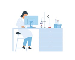 Focused female scientist sitting at desk working on computer vector flat illustration. Woman in white coat at science laboratory isolated on white background. Scientific research and analyzing