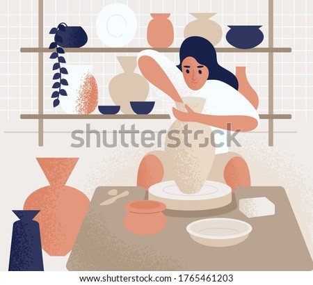 Focused woman making pot on potter's wheel vector flat illustration. Ceramist female at pottery workshop or courses. Girl create earthenware, crockery and other ceramics. Artist during handicraft Сток-фото ©