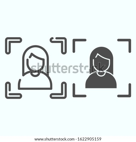 Focusing line and solid icon. Camera focusing vector illustration isolated on white. Focus on portrait outline style design, designed for web and app. Eps 10
