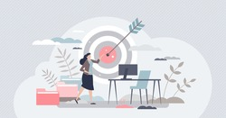 Focusing on work goal and best task performance results tiny person concept. Success score for female business and career vector illustration. Complete objective as target accuracy and precise shot.