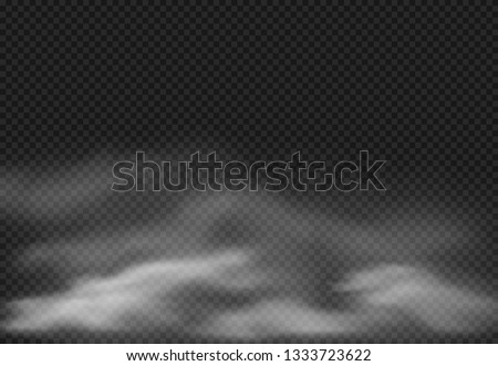 Fog effect. Smoke clouds, cloudy mist and realistic smoky cloud isolated on transparent background. Smoking effects, fog cloud or cloudy air sky vector illustration