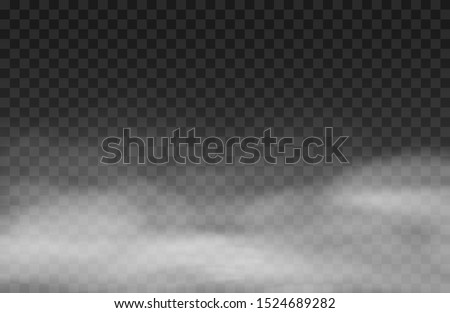 Fog  effect.  White vector cloudiness, mist background. Smoke cloud on transparent background. Vector illustration