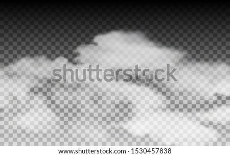 Fog or mist on transparent background. Dust clouds on transparency, vector chemical smog effect, white fogs texture on black