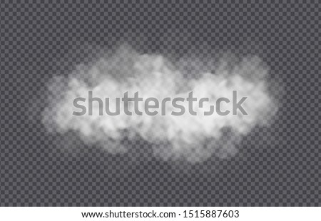 Fog or smoke cloud isolated on transparent background. Realistic smog, haze, mist or cloudiness effect. Realistic vector illustration.