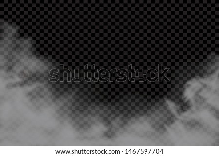 Fog or smoke isolated transparent special effect. White vector cloudiness, mist or smog background. Vector illustration - Vector