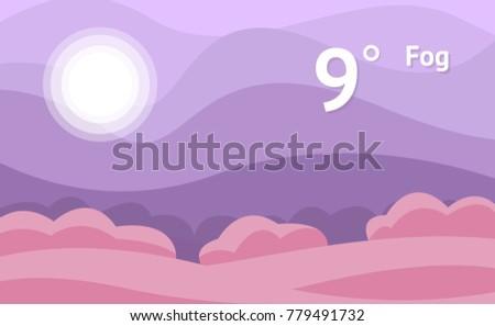 Fog widget of weather vector background. Interface design illustration.