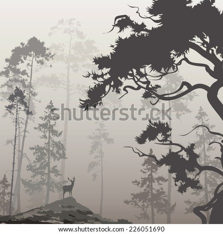 foggy landscape with silhouette of forest, pine trees and deer, brown tones - stock vector