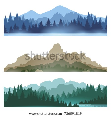 foggy mountains landscape set...