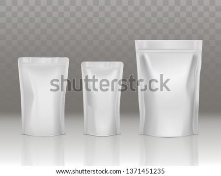 Foil or plastic sachet pouch set with valve and seal isolated on transparent background. Different size doy packs, blank product packaging mock up for advertising. Realistic 3d vector illustration.