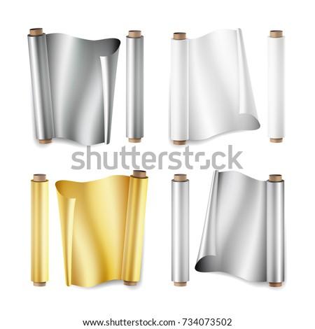 foil roll set vector aluminium