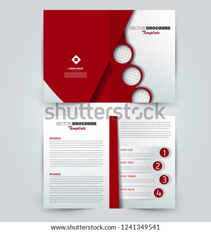 Fold brochure template. Flyer background design. Magazine or book cover, business report, advertisement pamphlet. Red color. Vector illustration. #1241349541