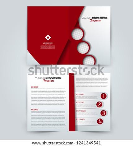 Fold brochure template. Flyer background design. Magazine or book cover, business report, advertisement pamphlet. Red color. Vector illustration. #1241349541