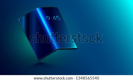 Foldable smartphone with foldable screen. Flexible display of mobile phone bended hanging over table. New technology transforming phone into a tablet. Illustration electronic smart device Stockfoto ©