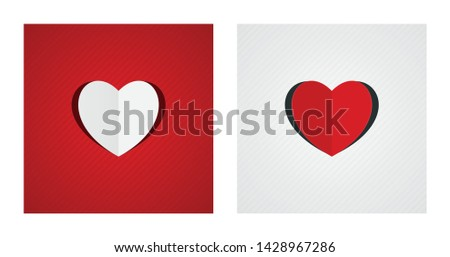 Folded and cut heart shapes on red and white striped backgrounds. Romance backgrounds.