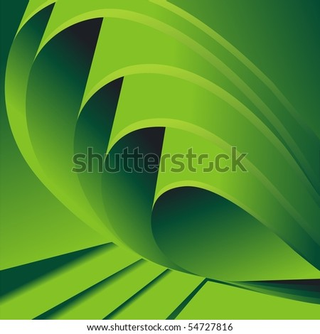Folded green sheets of paper. Vector background