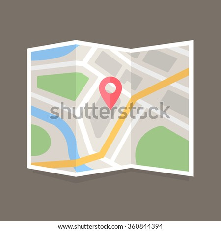 Folded map with location marker. Flat vector map icon
