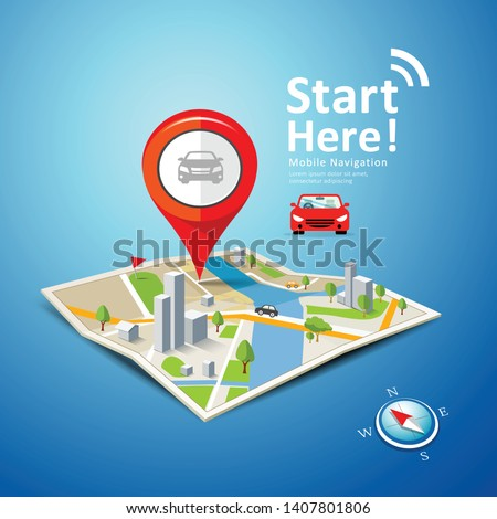 Folded maps car navigation vector with red color point markers design background, illustration