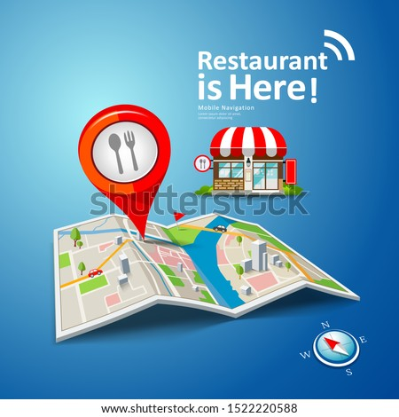 Folded maps vector with red color point markers, restaurant is here design background, illustration Stockfoto ©
