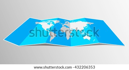 Folded world map illustration download free vector art stock folded maps vector world map flat design gumiabroncs Gallery