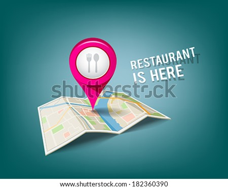 Folded maps with pink color point markers, restaurant is here design background, vector illustration