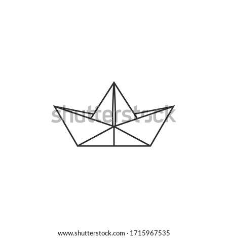 folded paper boat icon isolated