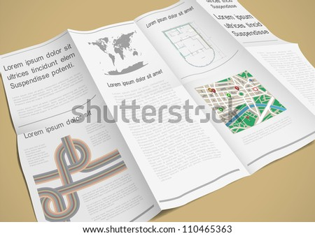 Folded paper booklet. Vector illustration - stock vector