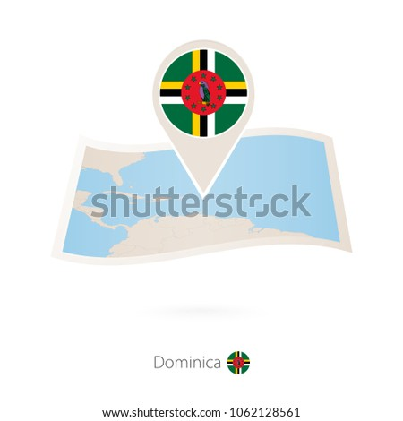 folded paper map of dominica