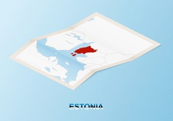 Folded paper map of Estonia with neighboring countries in isometric style on blue vector background.