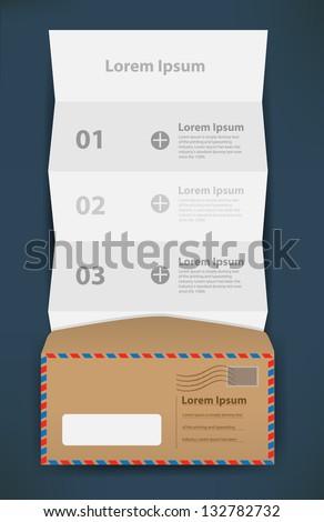 folded paper number banner with envelope, Vector illustration modern template design