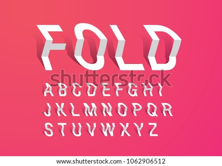 folded paper typography design vector/illustration