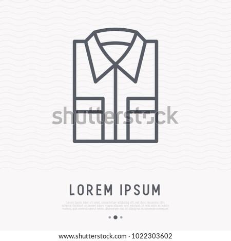 Folded shirt thin line icon. Modern vector Illustration of men's wear.