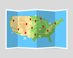 Folded travel map United States of America with airplanes and point markers. Vector illustration in flat style. EPS10.