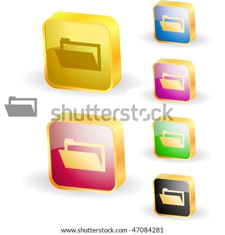 Folder buttons. Vector set.