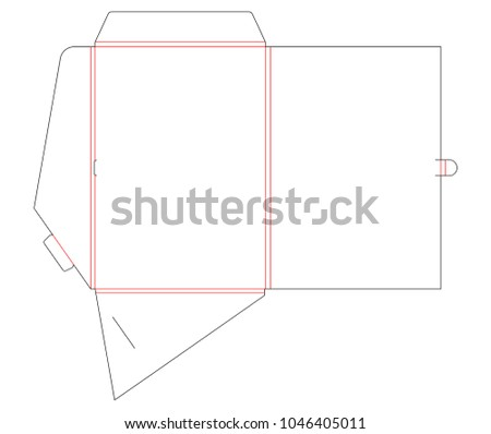 Folder die cut stamp with gusset for A4. Empty shablon template for blank with lock. Vector black isolated circuit, line folder on white background. Folder mock up, printable, template.