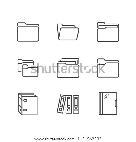 Folder flat line icons. Document file vector illustrations - business paper organizing, computer directory outline signs.