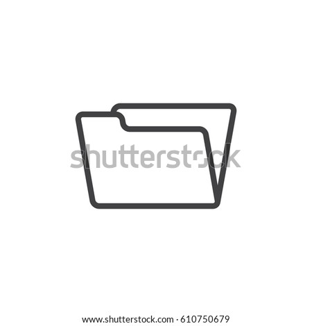 Folder icon in black on a white background. Vector illustration