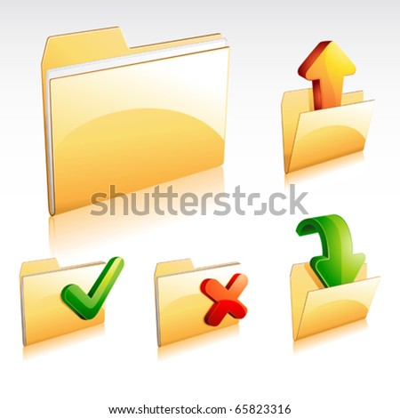 folder icon set - stock vector